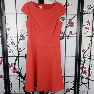 Anne Klein Coral Ponte Cap Sleeve Dress